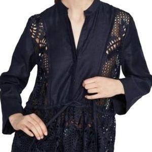 Zara Tunic high collar Long sleeves NWT Blue